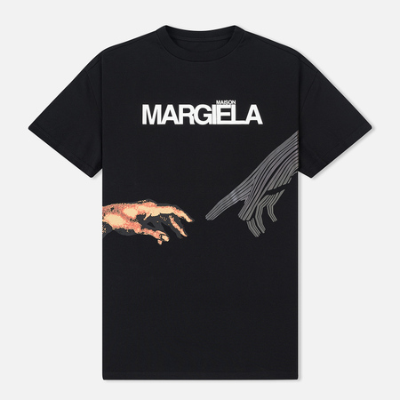 Мужская футболка Maison Margiela Printed Logo And Hands Black