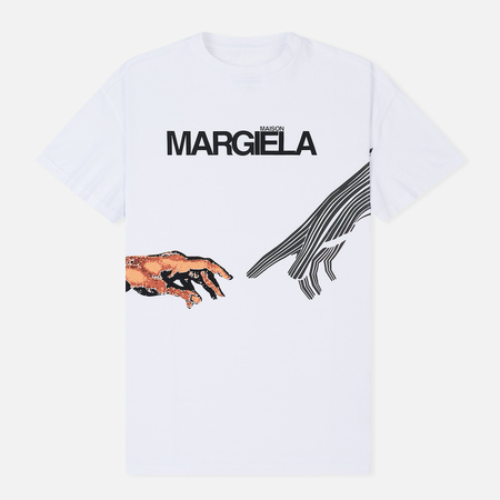 Мужская футболка Maison Margiela Printed Logo And Hands White