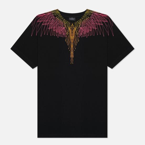 Мужская футболка Marcelo Burlon Bezier Wings Basic Black/Fuchsia Fluo