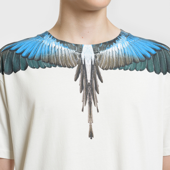 Мужская футболка Marcelo Burlon Turquoise Wings Beige/Multicolor