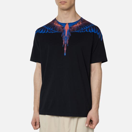 Мужская футболка Marcelo Burlon Wings Basic Black/Faded Orange