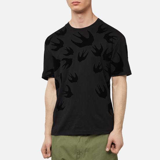 Мужская футболка McQ Alexander McQueen Dropped Shoulder Swallow Flocked Darkest Black