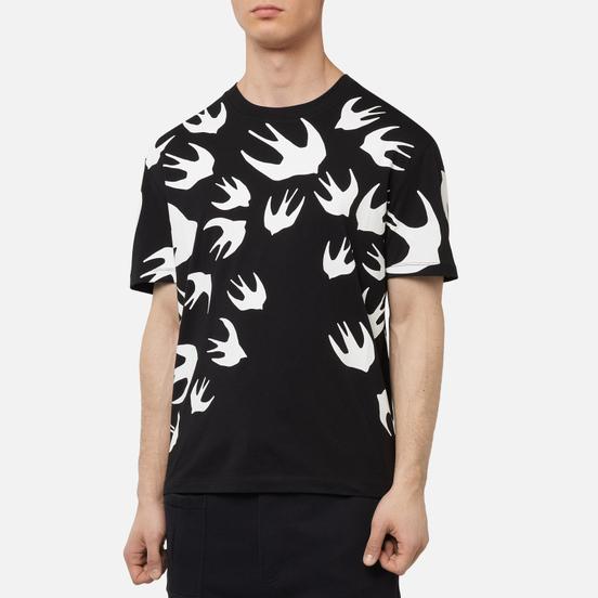 Мужская футболка McQ Alexander McQueen Dropped Shoulder Swallow Swarm Darkest Black