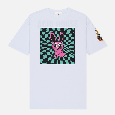 Мужская футболка McQ Alexander McQueen Dropped Shoulder Acid Bunny Optic White