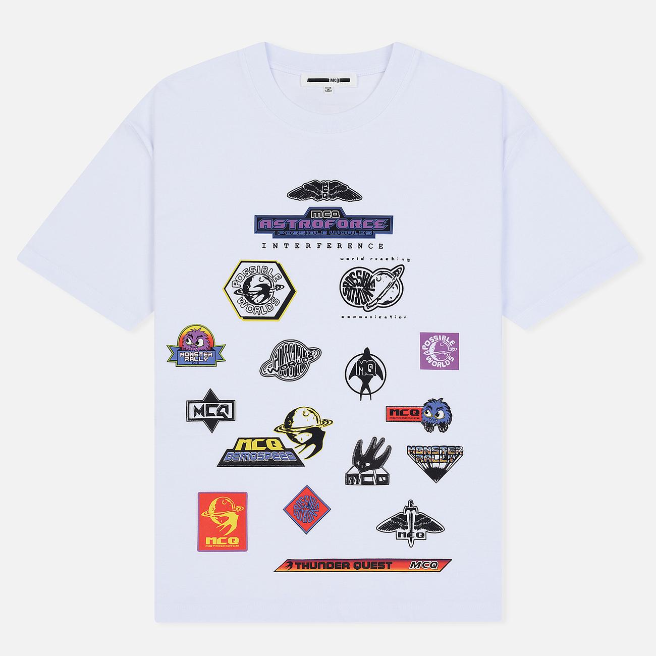 Мужская футболка McQ Alexander McQueen Sponsorship Dropped Shoulder Optic White