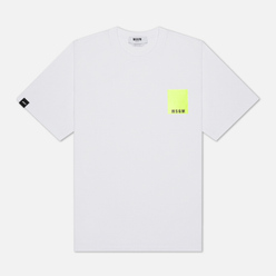 Мужская футболка MSGM Fluo Framis Logo Optical White