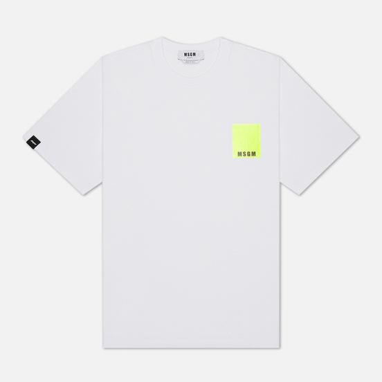 Мужская футболка MSGM Fluo Framis Logo Optical White