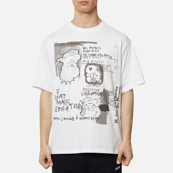 Мужская футболка MSGM Graffiti Print Optical White