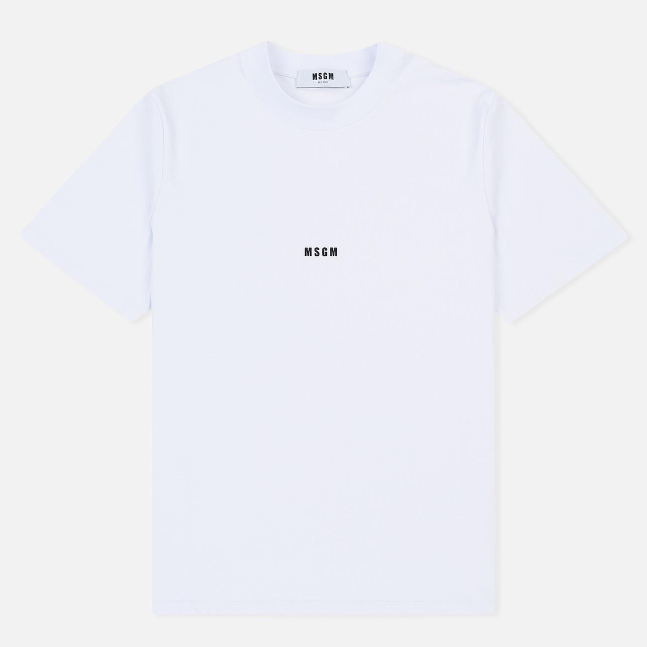Мужская футболка MSGM Micro Logo Print MSGM White