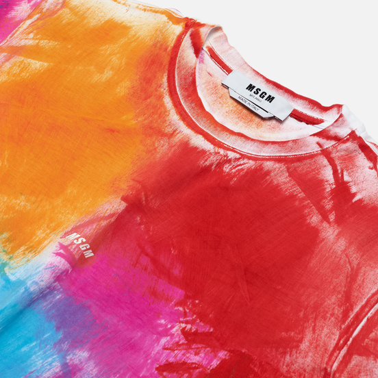 Мужская футболка MSGM Multicolor Brush Stroke Optical White