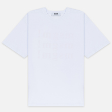 Мужская футболка MSGM Scoop Neck Back Print Optical White фото- 0