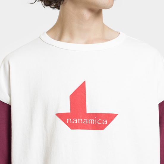 Мужская футболка Nanamica Nanamican Baseball Off White/Red