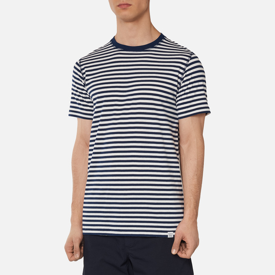 Мужская футболка Norse Projects Niels Classic Stripe Dark Navy/White