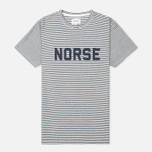 Мужская футболка Norse Projects Niels Cotton Linen Stripe Ecru фото- 0