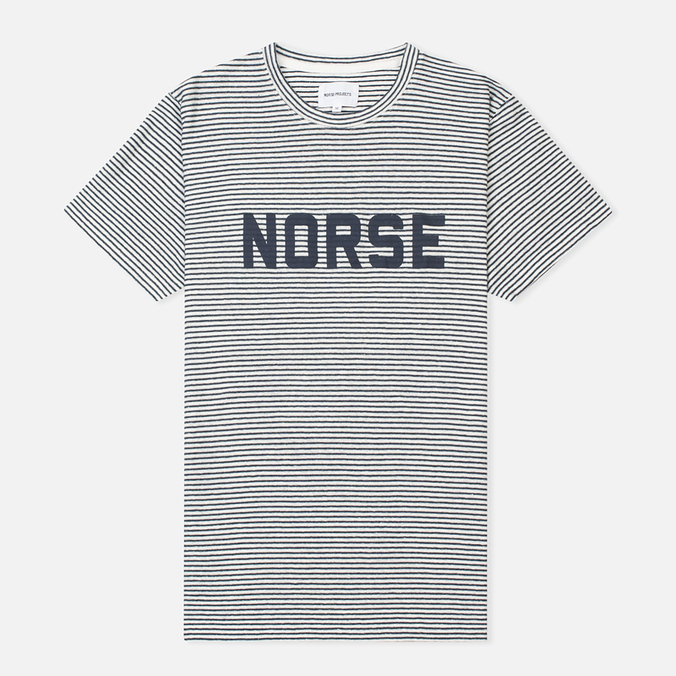 Мужская футболка Norse Projects Niels Cotton Linen Stripe Ecru