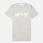 Мужская футболка Norse Projects Niels Cotton Linen Stripe Light Grey фото- 0