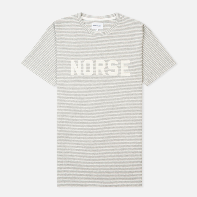 Мужская футболка Norse Projects Niels Cotton Linen Stripe Light Grey