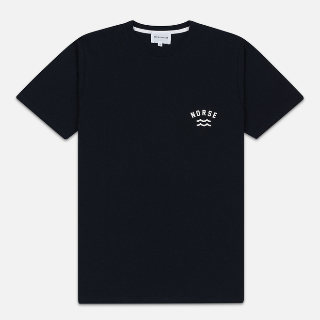 Мужская футболка Norse Projects Niels Ivy Wave Logo Dark Navy