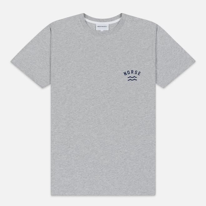 Мужская футболка Norse Projects Niels Ivy Wave Logo Light Grey Melange