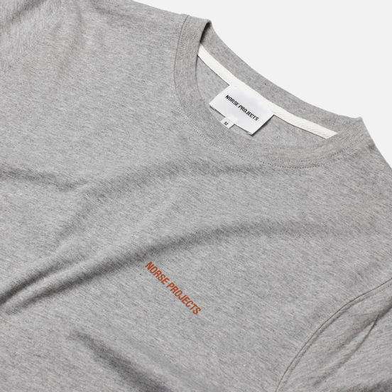 Мужская футболка Norse Projects Niels Norse Projects Logo Light Grey Melange