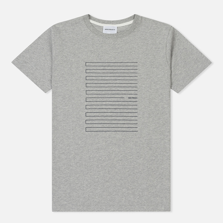 Мужская футболка Norse Projects Niels Stripe Screen Logo Light Grey Melange