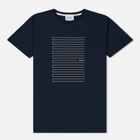 Мужская футболка Norse Projects Niels Stripe Screen Logo Navy