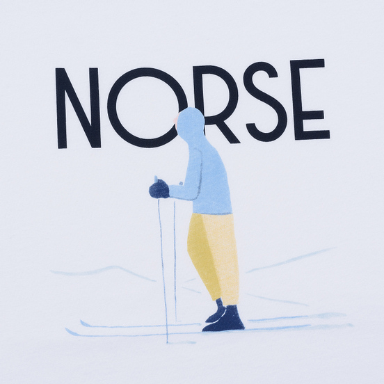 Мужская футболка Norse Projects x Daniel Frost Standing Skier White
