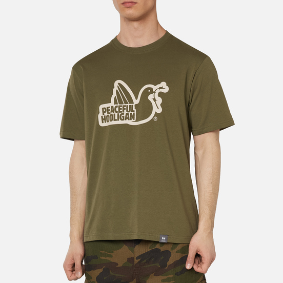 Мужская футболка Peaceful Hooligan Outline Dove Olive