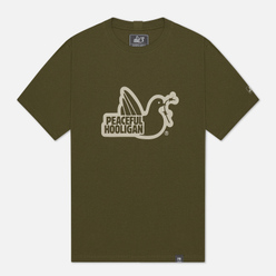 Мужская футболка Peaceful Hooligan Outline Dove Olive