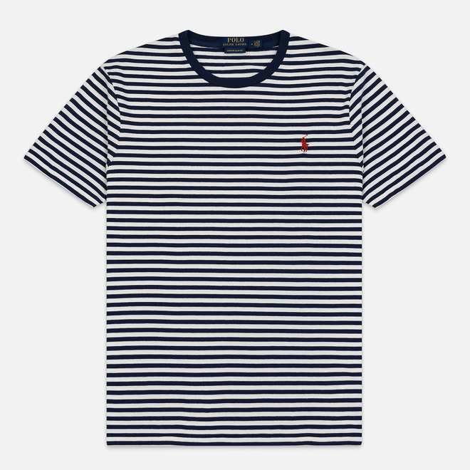 Мужская футболка Polo Ralph Lauren Classic Crew Neck Stripe Nevis/Newport Navy/Red