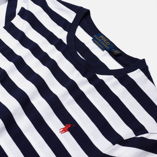 Мужская футболка Polo Ralph Lauren Classic Fit Striped Washed Cotton French Navy/White