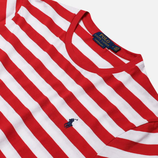 Мужская футболка Polo Ralph Lauren Classic Fit Striped Washed Cotton Red/White