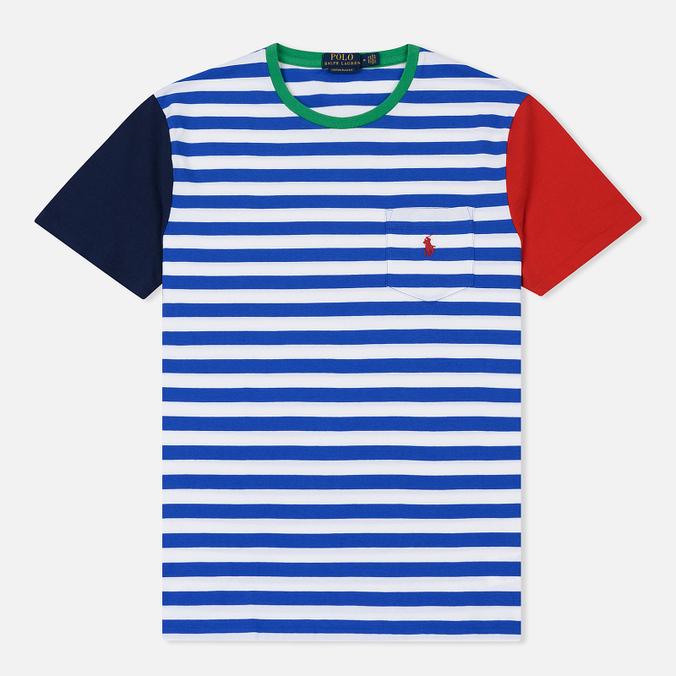 ecde21c2ec05b Мужская футболка Polo Ralph Lauren Contrast Stripe Sleeve Pocket Sapphire  Star/Multi ...