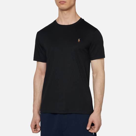 Мужская футболка Polo Ralph Lauren Custom Slim Fit Interlock Black