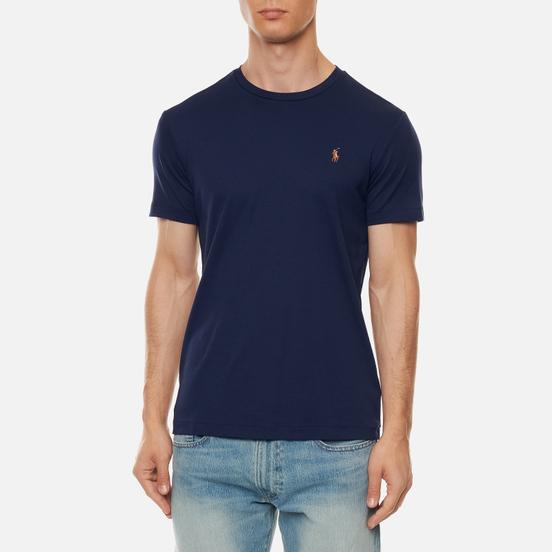 Мужская футболка Polo Ralph Lauren Custom Slim Fit Interlock French Navy
