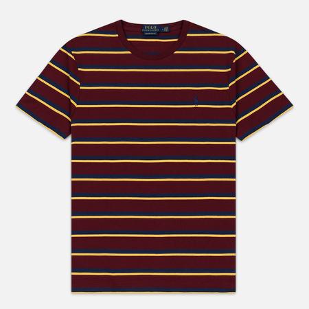 Мужская футболка Polo Ralph Lauren Embroidered Pony Pocket Stripe Classic Wine/Multicolor