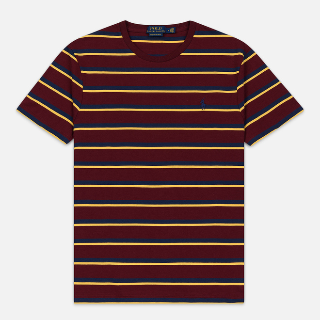 Мужская футболка Polo Ralph Lauren Embroidered Pony Pocket Stripe Classic Wine/Multicolor