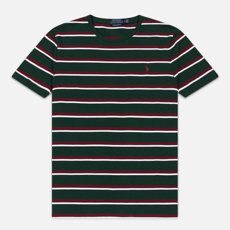 Мужская футболка Polo Ralph Lauren Embroidered Pony Pocket Stripe College Green/Multicolor
