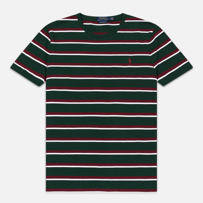 Мужская футболка Polo Ralph Lauren Embroidered Pony Pocket Stripe College Green/Multicolor