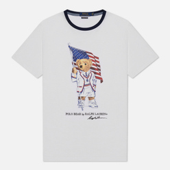 Мужская футболка Polo Ralph Lauren Polo Bear With American Flag White