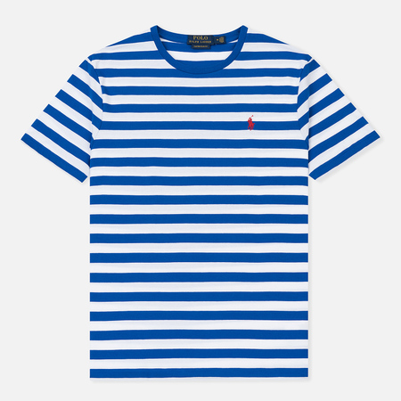 Мужская футболка Polo Ralph Lauren Striped Custom Fit Cruise Royal/White