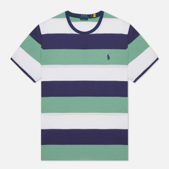 Мужская футболка Polo Ralph Lauren Three Strips Logo Polo Pony Haven Green/Multicolor