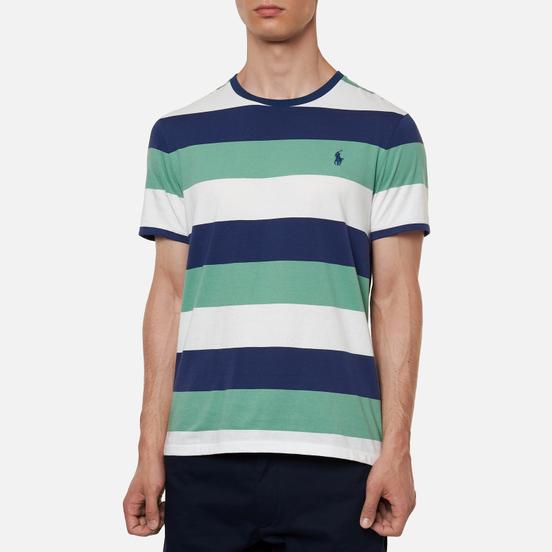 Мужская футболка Polo Ralph Lauren Three Strips Logo Polo Pony Haven Green/Multicolor