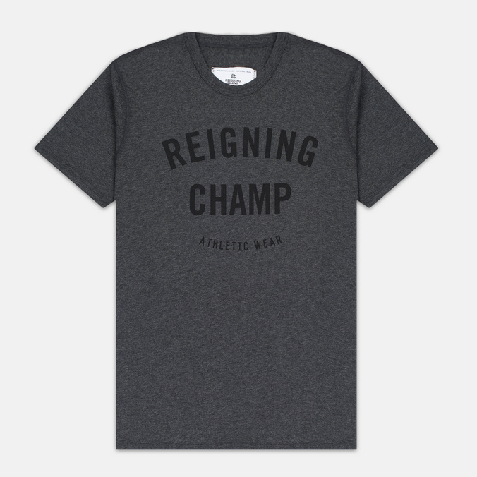 Reigning Champ Gym Logo SS Tee Men's t-shirt Heather Charcoal