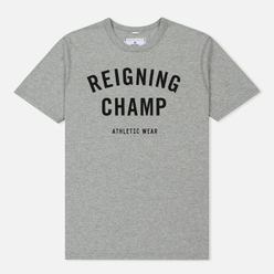 Мужская футболка Reigning Champ Knit Cotton Jersey Gym Logo Heather Grey/Black
