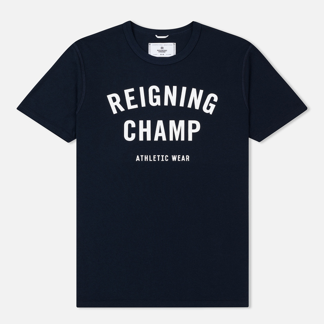 Мужская футболка Reigning Champ Knit Cotton Jersey Gym Logo Navy/White