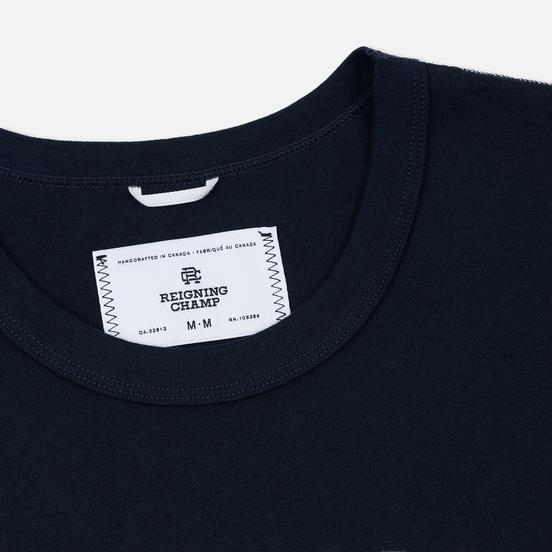 Мужская футболка Reigning Champ Knit Cotton Jersey Gym Logo Navy/White