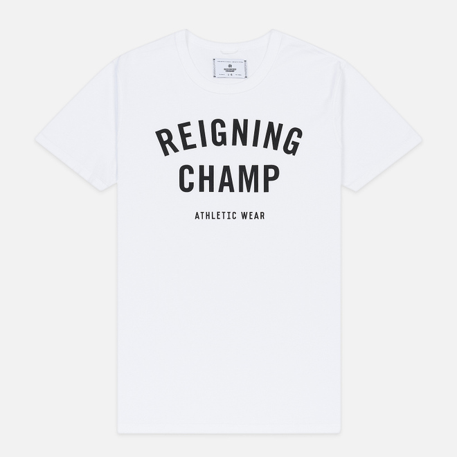 Мужская футболка Reigning Champ Knit Cotton Jersey Gym Logo White/Black