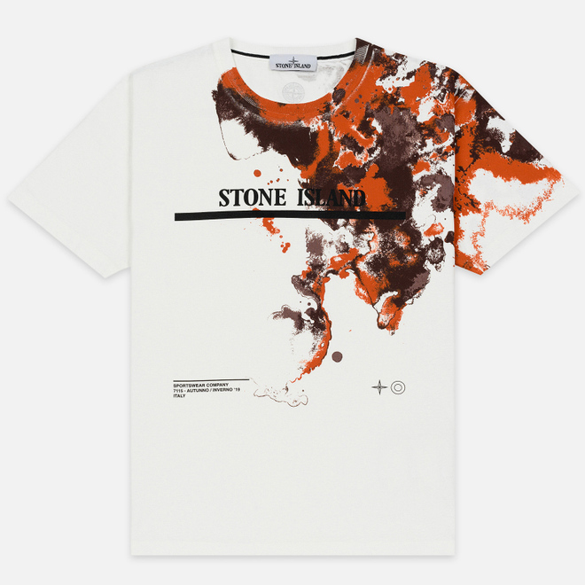 Мужская футболка Stone Island 7115 Graphic Eight Natural White