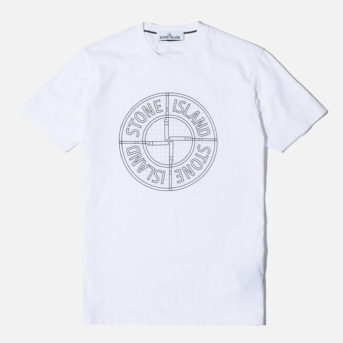 Мужская футболка Stone Island Check Pin White